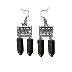 Black gemstone tribal drop earrings