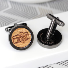 Personalised gun metal camera cufflinks
