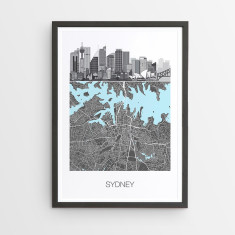 Sydney illustrated map print