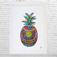 Mexican pineapple framed art print