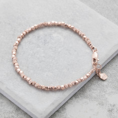 Rose Gold Silver Nugget Bracelet