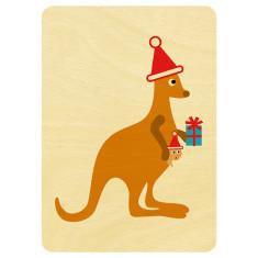 Kangaroo and joey Christmas postcard