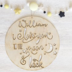 Personalised wooden I love you to the moon wall plaque