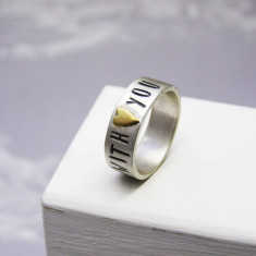 Personalised silver & brass heart ring