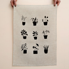 Pot plants tea towel