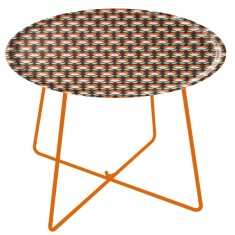 Wooden tray table with metal feet
