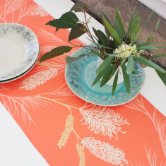 Grevillea table runner in coral