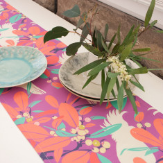 Moreton bay fig & cockatoo table runner in orchid