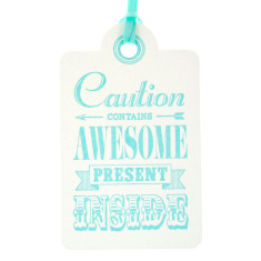 Aqua letterpress awesome birthday tags (pack of 6)