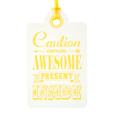 Yellow letterpress awesome birthday tags (pack of 6)