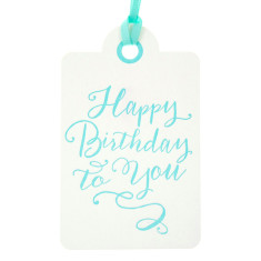 Aqua letterpress happy birthday tags (pack of 6)