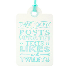 Aqua letterpress tweets birthday tags (pack of 6)