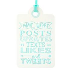 Aqua letterpress tweets birthday tags (pack of 6)
