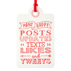 Red letterpress tweets birthday tags (pack of 6)