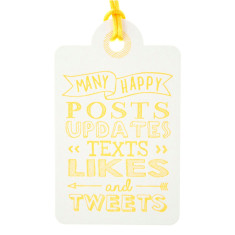 Yellow letterpress tweets birthday tags (pack of 6)