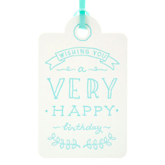 Aqua letterpress very happy tags (pack of 6)
