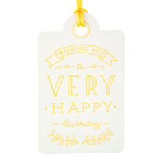 Yellow letterpress very happy tags (pack of 6)
