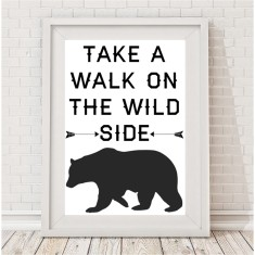 Take a walk on the wild side monochrome bear print