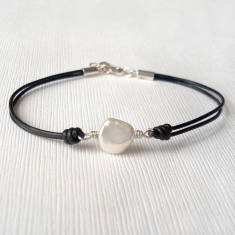 Freshwater Pearl And Leather Bracelet