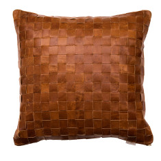 Leather woven cushion cover