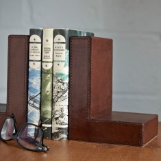 Leather book ends