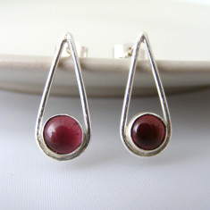 Silver garnet teardrop earrings