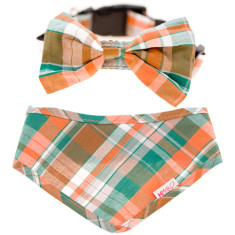Dog bow tie and bandana set in tartan