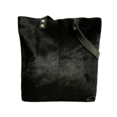 Black hide tote bag