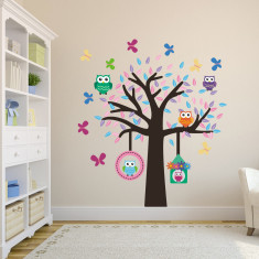 Owl, Birds and Butterflies Tree Wall Sticker