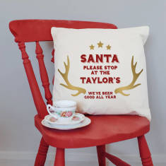 Personalised 'Santa Please Stop Here' Christmas Cushion