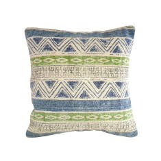 Kilim Collection: Blue Green Aztec Triangle Cushion