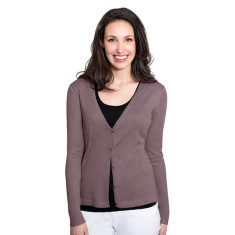 Silk Cashmere Cardigan with Pointelle Detail - Onyx