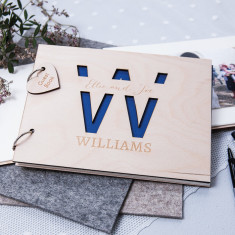 Personalised initial wedding guest book