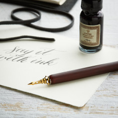 Wooden Quill & Ink Set