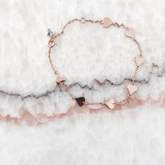 Mini heart bracelet 18k rose gold vermeil