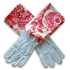 Protective Cuff leather gardening gloves in Strawberry Boho