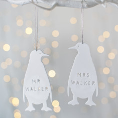 Personalised Mr And Mrs Penguin Decoration