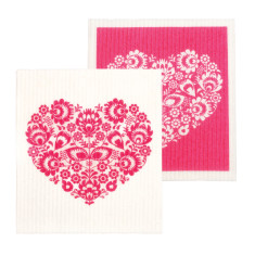 Swedish dish cloth/sponge - Hearts (Set of 2)
