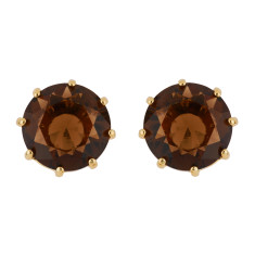 Small Round Stone Earrings - Smoky Quartz