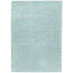 Lagoon/Sea Blue hand tufted wool & art silk rug