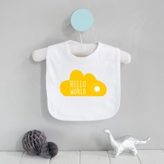Hello world cloud baby bib
