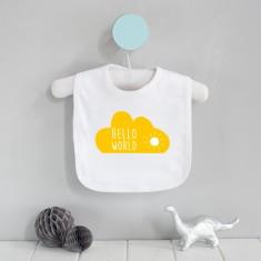 Hello world cloud baby bib