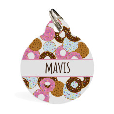 Personalised pet ID tag standard (doughnut in pink or blue)
