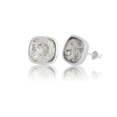 Silver Shadow Cushion Stud Earrings