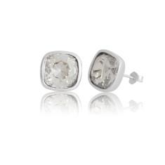 Silver Shadow Cushion Stud Earrings