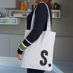 Personalised Initial Heather Grey Tote Bag