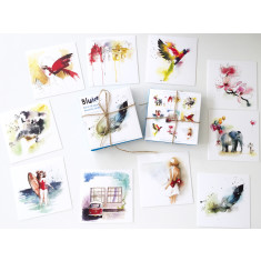 Mini watercolour cards (set of 10 in different designs)