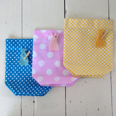 Polka dot pop Easter bags (set of 3)