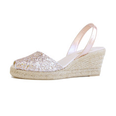 Lluna leather sandals in peach glitter