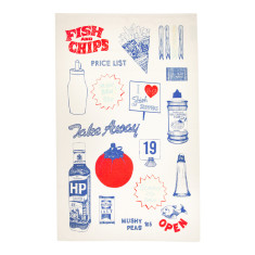 Fish & chips tea towel